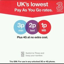 Three(3)UK Network 3in1 PAYG Sim Card with £35 Top-up. Unlimited Data, Read Des.