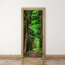 Door Mural Scene in the Forest - Self Adhesive Fabric Door Wrap Wall Sticker