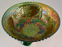 """Rare 7.5""""  Green Fenton Stag & Holly Carnival Glass Bowl Spatula Feet Footed"""