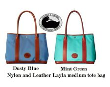 Dooney & Bourke Layla Nylon Tote Handbag Dusty Blue / Brown Leather Trim