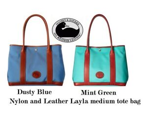 Dooney & Bourke Nylon Layla tote Dusty Blue or Mint Green Leather and Canvas NWT