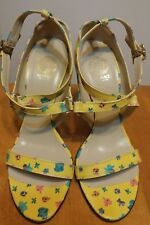 VERSACE Yellow Floral Strappy Sandals, Lucite Heel NEW 37 $685