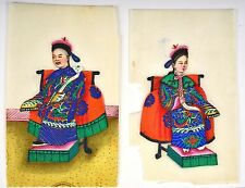 12 Chinese Rice Paper Watercolor Painting Mandarin Emperor Figure Figurine Box
