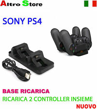SONY PS4 BASE RICARICA 2 CONTROLLER DUALSHOCK 4 USB BATTERIA JOYPAD MOD. NUOVO
