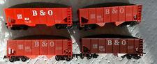 HO Four B&O Baltimore & Ohio hoppers w/coal load