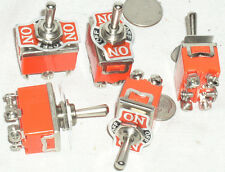 5 NEW DPDT ON-OFF-MOMENTARY TOGGLE SWITCH 15 A AMP 15A ON-OFF-SPRING ONE WAY USA