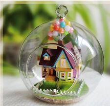 Mini Glass DIY Wooden Dollhouse Kit all Furniture&LED light / Voice control
