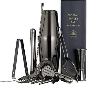 11-piece Black Cocktail Shaker Bar Set: 2 Weighted Boston Shakers, Cocktail Set,