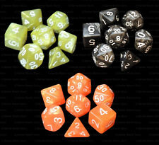 3 NEW Sets of 7 Polyhedral Dice - Yellow Black Orange Marble  - 3 Dice Bags RPG