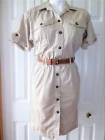 Womens Vtg  LIZSPORT Petites Size Small Petite Khaki Safari Canvas dress 80s