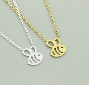 New Bumble Bee Charm Beehive Chain Pendant Necklace Gift - Gold or Silver Plated