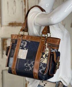 COACH Denim Blue Patchwork Whiskey Leather Shoulder Tote Handbag 10002 $498 Med