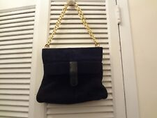 Vintage Triangle Black Suede Bag W/Goldtone Chain Handles & Phone Compartment