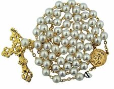 Acrylic White Prayer Bead Rosary with Gold Tone Sacred Heart Centerpiece,20 Inch