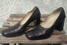 Gucci Wooden Leather Loafers Heels Bronze Chocolate Pumps Size 6.5  AG