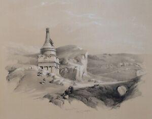 David Roberts Original First Edition Lithograph Absalom's Pillar Jerusalem 1841