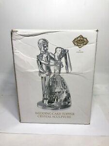 Godinger Wedding Cake Topper Crystal Sculpture Shannon Crystal New