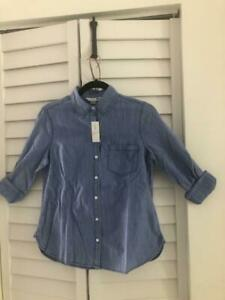 Old Navy Women Jean Classic Shirt,Button Up Chambray Medium Wash, Sm & Med Sizes
