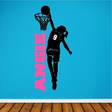 Personalized Girl Basketball Player Wall Decal Removable Wall Lettering