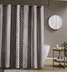 INK+IVY Imani Cotton Printed Shower Curtain with Chenille Stripe