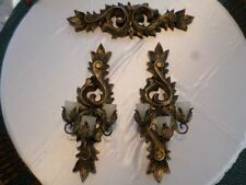 Large Vintage Resin Home Interior 3 Pc. Wall Sconces/Candleholders