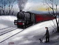 My Dog Spots Trains : Original Northern Art Oil Painting on Canvas by COSA