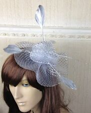 silver netting feather hair headband fascinator millinery wedding hat ascot race
