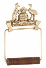 Coat of Arms Toilet Roll Holder Brass