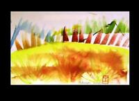 C Peterson ORIGINAL Fine ART watercolor PAINTING abstract GRAPHIC landscape