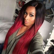 Grade 8A Lace Front Wig Brazilian Human Hair Ombre Full Lace Wigs Silky Straight