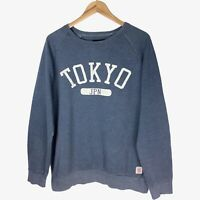 Vintage Mens Jumper Large Graphic Tokyo Japan Sweater Blue White Spellout Fleece