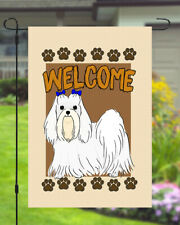 Maltese Welcome Dog Garden Banner Flag 11x14 to 12x18 Pet Yard Decor Breed