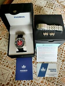 Phoibos Eagle Ray Compressor Divers Automatic Watch. Seiko Mvmnt. Rare Red Dial.