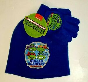 Teenage Mutant Ninja Turtles Knit Beanie Hat and Gloves Set One Size Youth New