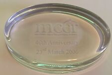 mccr Manchester Council  Community Relations 40th Anniversary Glass Paperweight