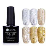 UR SUGAR Soak Off UV Gel Polish Glitter Gold Silver Nail Art Gel Varnish 7.5ml