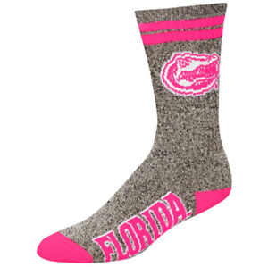 Florida Gators Gray Marbled Pink 2 Stripe Deuce Crew Socks