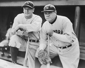 New York Yankees BABE RUTH and LOU GEHRIG 8x10 Photo Baseball Poster Print
