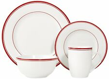 16pcs Dinner Set Plates Bowls Cups Dinnerware Crockery Dining Service for 4 Red