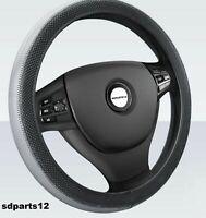 Coprivolante Ecopelle Grigio Nero Copri Sterzo Per BMW Mercedes Opel 37/38cm