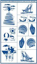 Armour Rub 'n' Etch Glass Etching Stencil ~ Sea Shore Beach Designs