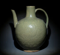 Excellent Chinese Ancient Celadon Porcelain Lotus Flower Ewer Handle Jug 8.66""