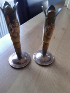 Rare Ww1 French trench art pair of  bullet vases