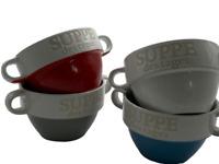 4er Set Suppentasse / Suppenschüssel / Schüssel Ø 13 cm / 8 cm 4 Farben Keramik