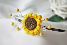 Handmade Bride Bridesmaid Prom -  Sunflower Side Tiara Headband