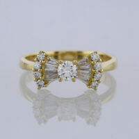 Diamond Bow Ring 18ct Yellow Gold Size N