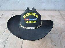 PROUD KOREAN WAR VETERAN WESTERN COWBOY BLACK FELT HAT SIZE L/XL