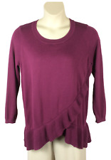 Womens Lane Bryant Purple Sweater Plus Size 14/16 Long Sleeve Ruffled Hem