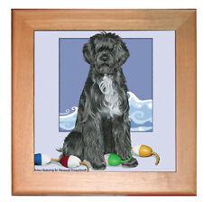 "Portuguese Water Dog Portie Dog Ceramic Trivet Framed in Pine 8"" x 8"""