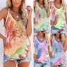 Womens CAMI Tee Tank Shirt Tie-Dye Ladies Sleeveless Holiday Vest Blouse Tops